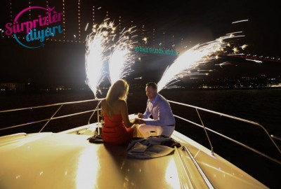 Color Laser Light Marriage Proposal in the Bosphorus - 1031