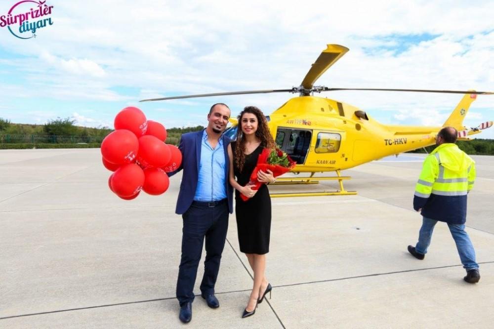 Ankara'da Helikopterde Evlilik Teklifi